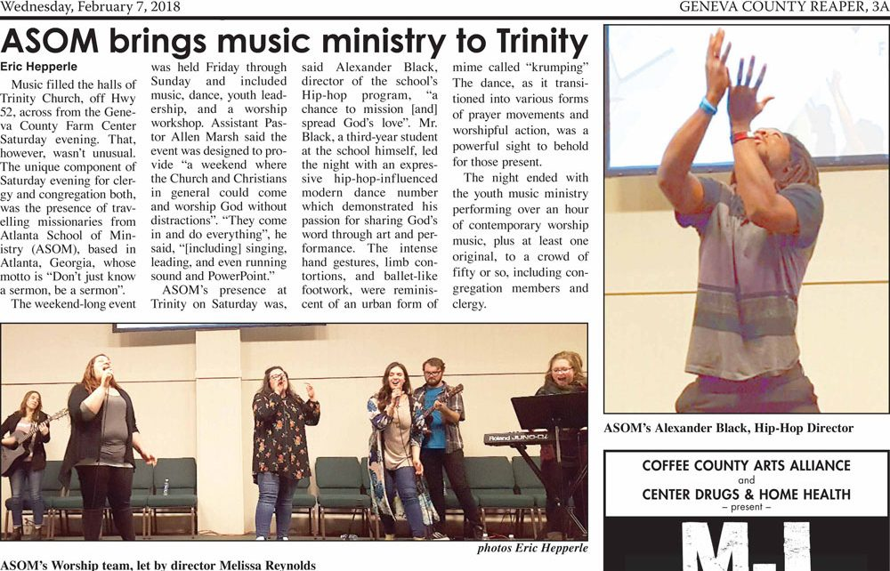 Newspaper Clipping: ASOM at Trinity, Geneva, AL 2018-02-07 (article and photos by Eric Hepperle)
