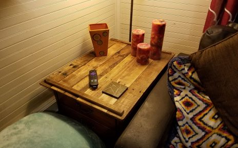 Finished pallet tray with candles